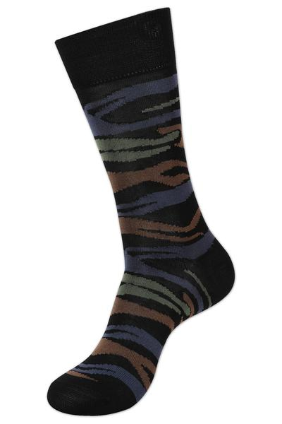 Balenzia Men's Premium Mercerized Design Socks- Black